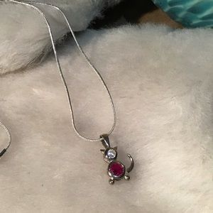 Garnet and CZ Cat Necklace